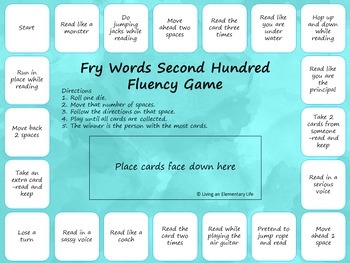 Fry Words:  Second Hundred Fluency Game -Freebie