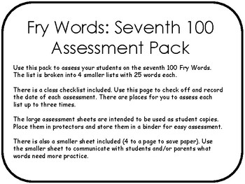 Fry Words: Seventh 100 Assessment Pack