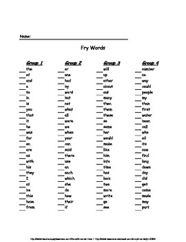 Fry Words (All 1,000 words) Check sheets