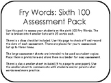 Fry Words: Sixth 100 Assessment Pack