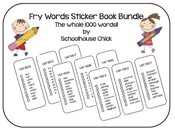 Fry Words Sticker Book- Bundle- The Whole 1000 Words