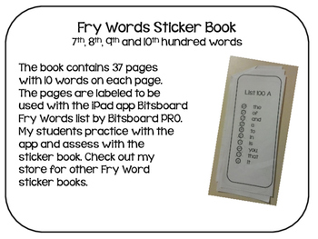 Fry Words Sticker Book- The rest of the words to 1000.