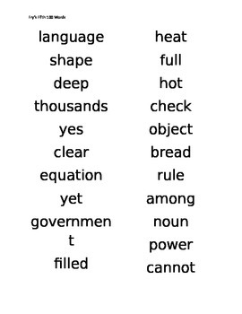 Fry Words Student List 500