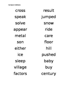 Fry Words Student List 700