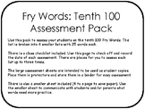 Fry Words: Tenth 100 Assessment Pack