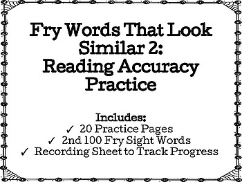 Fry Words That Look Similar 2: Reading Accuracy Practice