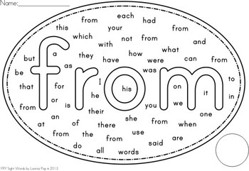 Fry Words - Word Find Worksheets {Set 1}