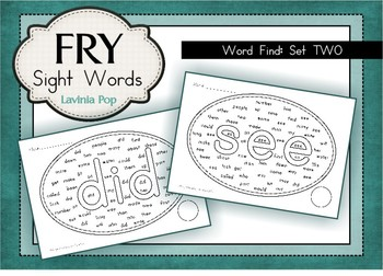 Fry Words - Word Find Worksheets {Set 2}