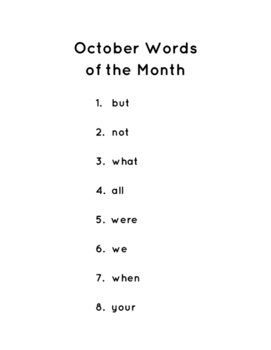 Fry Words of the Month