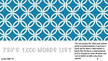 Fry's 1,000 Words List