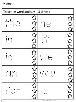 Sight Word Trace (Fry's 100, 200)