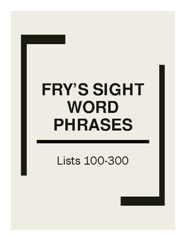 Fry's 100-300 Sight Word Phrases Flashcards