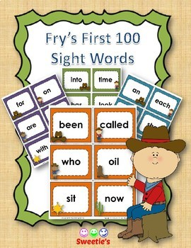 Fry's 1st 100 Flash Cards - Cowboy Theme