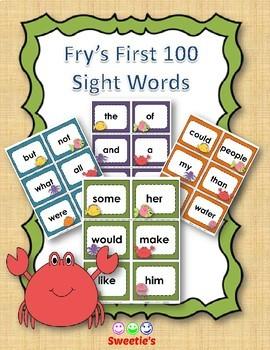 Fry's 1st 100 Flash Cards - Ocean Theme