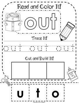 Fry's 1st 100 Words - Read Trace Build Worksheets