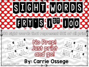 Fry's 1st 100 Sight Word Fluency Cards