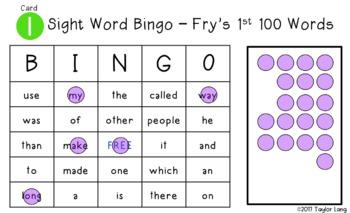 Fry's 1st 100 Words - Digital BINGO - High Frequency Words