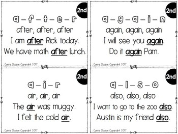 Fry's 2nd 100 Sight Word Fuency Cards