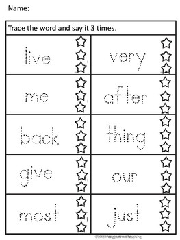 Fry's 2nd 100 Sight Word Trace