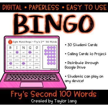 Fry's 2nd 100 Words - Digital BINGO - High Frequency Words