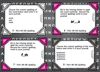 Fry's 4th 100 List Spelling 100 Task Cards {Stations, Daily 5, & Word Work}