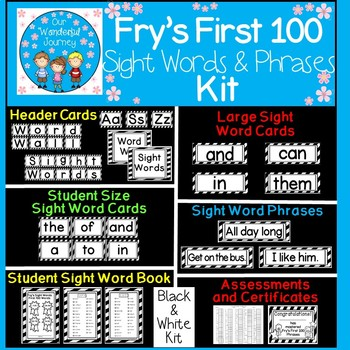 Fry's First 100 Black and White Sight Words and Phrases Kit