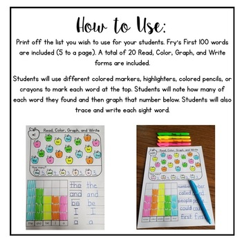 Fry's First 100--Read, Color, Graph and Write
