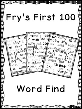 Fry's First 100 Sight Word Find