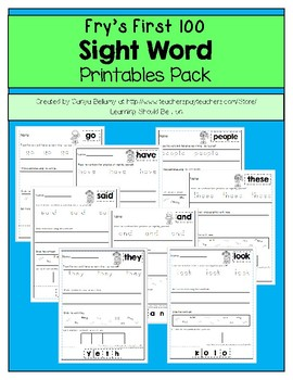 Fry's First 100 Sight Word Printables Pack