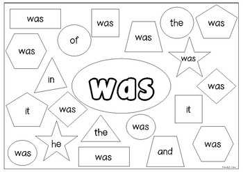 Fry's First 100 Sight Words Booklet - Color the Shape