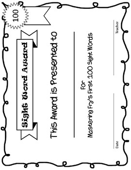 Fry's First 100 Sight Words Checklist and Certificate - Frys Fry