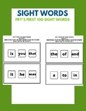 Fry's First 100 Sight Words - Field of 3