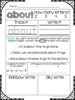 Fry's First 100 Sight Words Intervention and Practice Pack