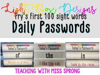 Fry's First 100 Sight Words Light Box Designs with Passwords