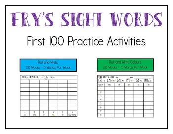 Fry First 100 Sight Words Practice Activities