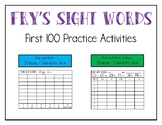 Fry First 100 Sight Words Practice Activities