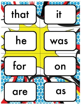 Fry's First 100 Sight Words Superhero Theme