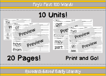 Fry's First 100 Sight Words Work Pages