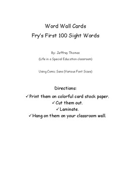 Fry's First 100 Word Wall Cards