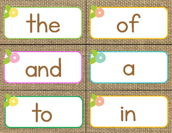 Fry's First 100 Words-A Burlap, Floral and Pastel Word Wall
