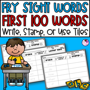 Fry Sight Words First 100 Words Word Work Trace, Write, Stamp or Word Tiles