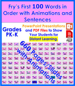 Fry's First 100 Words in Order with Pictures and Example S