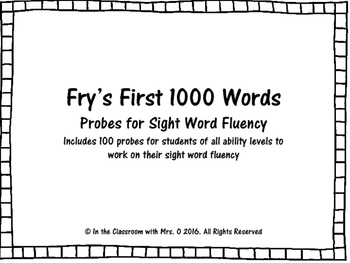 Fry's First 1000 Words Fluency Probes