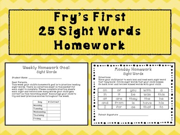 Fry's First 25 sight words homework