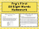 Fry's First 25 sight words homework