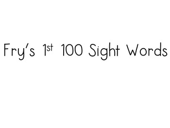 Fry's First 300 Sight Words
