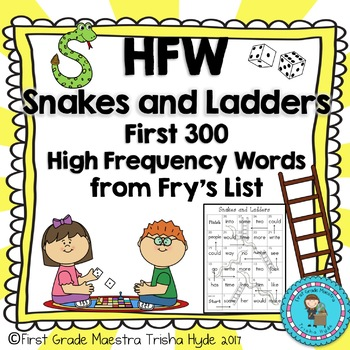 High Frequency Words No Prep Fry's First 300 HFW Game Snakes and Ladders