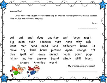 Fry's First 300 Sight Words Homework