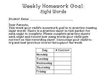 Fry's First 50 Sight Words Homework
