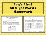 Fry's First 50 Sight Words Homework